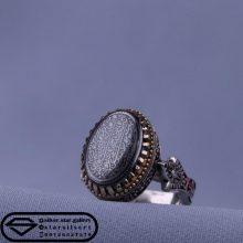 انگشتر حدید صینی اصل -نقش آیت الکرسی -رکاب نقره تاج برنجی