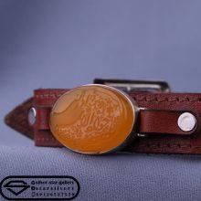 دستبند عقیق خطی-نقش یا جواد الائمه ادرکنی-قاب نقره دستساز -بند چرم طبیعی