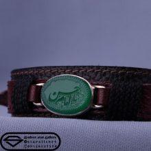 دستبند عقیق سبز خطی نقش یا امام حسن