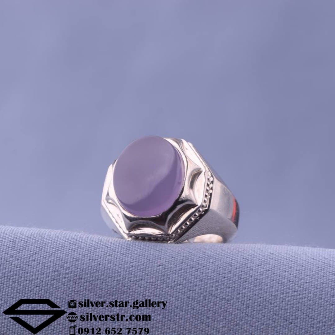 انگشتر عقیق کبود دستساز