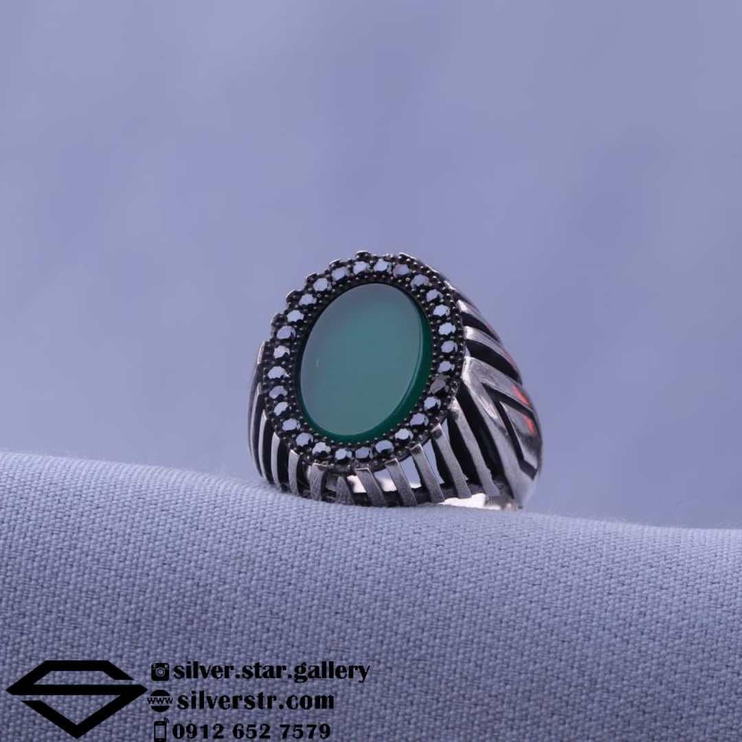 انگشتر  عقیق سبز اسپرت