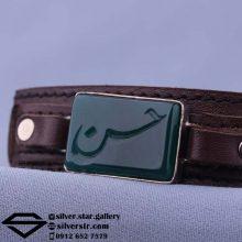 دستبند عقیق سبز نقش حسن