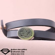 دستبند عقیق سبز نقش علی ولی الله